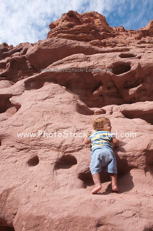 Two year baby boy mountain climbing