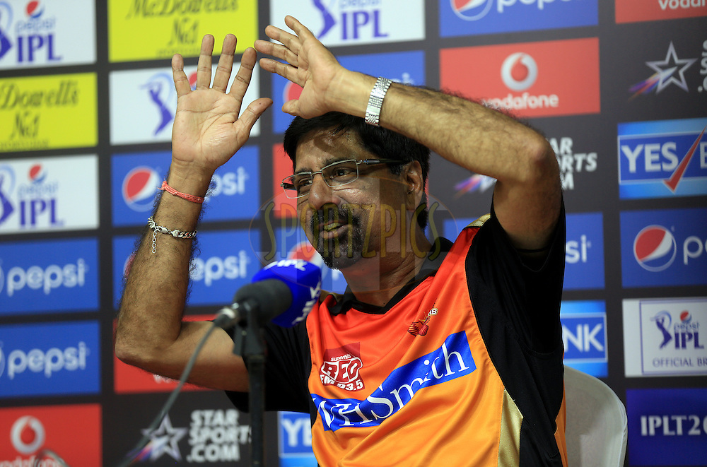 Krishnamachari Srikkanth of the Sunrisers Hyderabad during the press conference of the match 17 of the Pepsi Indian Premier League 2014 between the Sunrisers Hyderabad and the Chennai Superkings held at the Sharjah Cricket Stadium, Sharjah, United Arab Emirates on the 27th April 2014<br /> <br /> Photo by Sandeep Shetty / IPL / SPORTZPICS