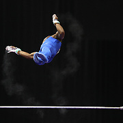 John Orozco, Colorado Springs, Colorado, in action on the Horizontal bar during the Senior Men Competition at The 2013 P&G Gymnastics Championships, USA Gymnastics' National Championships at the XL, Centre, Hartford, Connecticut, USA. 16th August 2013. Photo Tim Clayton