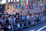 Sumo fans watching their favourite wreslters depart in cars in the controversial Nagoya summer Grand Sumo Tournament held on the 14th and second final day.