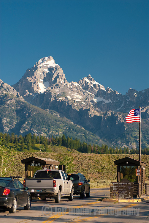 The Grand Teton National Park entrance station in Moose, Wyoming.