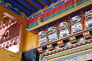 the colorful decorations of a buddhist temple in lhasa tibet.