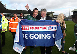 Free to use courtesy of Sky Bet - Gary Sawyer of Plymouth Argyle and Plymouth Argyle Director Tony Wrathall celebrate promotion - Mandatory by-line: Gary Day/JMP - 17/04/2017 - FOOTBALL - Home Park - Plymouth, England - Plymouth Argyle v Newport County - Sky Bet League Two