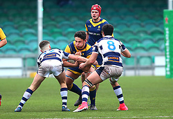 George Parker (Warriors AASE/Worcester Sixth Form College) of Worcester Warriors Under 18s is tackled - Mandatory by-line: Robbie Stephenson/JMP - 14/01/2018 - RUGBY - Sixways Stadium - Worcester, England - Worcester Warriors Under 18s v Yorkshire Carnegie Under 18s - Premiership Rugby U18 Academy