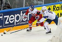Kevin Hecquefeuille / Roman Cervanka - 07.05.2015 - Republique Tcheque / France - Championnat du Monde de Hockey sur Glace <br /> Photo : Xavier Laine / Icon Sport