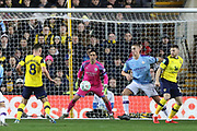 Claudio Bravo (1) of Manchester City makes a save from Cameron Brannagan (8) of Oxford United during the EFL Cup match between Oxford United and Manchester City at the Kassam Stadium, Oxford, England on 18 December 2019.
