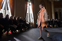 a Model presents the fashion of Acne Studios, Autumn Winter 2016, Ready to Wear, Paris Fashion Week. EXPA Pictures © 2016, PhotoCredit: EXPA/ Photoshot/ Digital Catwalk<br /> <br /> *****ATTENTION - for AUT, SLO, CRO, SRB, BIH, MAZ, SUI only*****