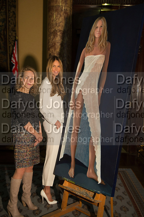 NICOLA GREEN; ELLE MACPHERSON; , A unique portrait of Elle Macpherson by Nicola Green is unveiled at the Australian High Commission at a reception hosted by His Excellency Mike Rann. London. 19 November 2013.  - Four Subsequent Life Size prints of Elle titled: The Body will go on show at London gallery: Flowers.