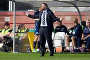 8th September 2019; Dens Park, Dundee, Scotland; Tunnocks Caramel Wafer Cup, Dundee Football Club versus Elgin City; Dundee manager James McPake shows his frustration