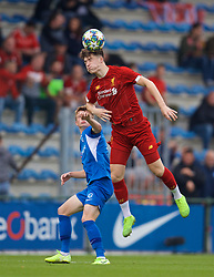 GENK, BELGIUM - Wednesday, October 23, 2019: Liverpool's Morgan Boyes during the UEFA Youth League Group E match between KRC Genk Under-19's and Liverpool FC Under-19's at the KRC Genk Arena Stadium B. (Pic by David Rawcliffe/Propaganda)