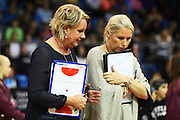 L-R Tactix coach Sue Hawkins and Assistant coach Marianne Delany-Hoshek during their ANZ Netball Championship game Mainland Tactix v Cold Power Magic. Trafalgar Centre, Nelson, New Zealand. Sunday 14 May 2016. ©Copyright Photo: Chris Symes / www.photosport.nz