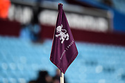 "Villa corner flag with Lion and ""Pride,Passion"" logo during the EFL Sky Bet Championship match between Aston Villa and Bristol City at Villa Park, Birmingham, England on 1 January 2018. Photo by Dennis Goodwin."