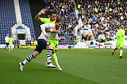 Preston North End Striker Joe Garner and Brighton defender, full back, Liam Rosenior (23) during the Sky Bet Championship match between Preston North End and Brighton and Hove Albion at Deepdale, Preston, England on 5 March 2016. Photo by Pete Burns.