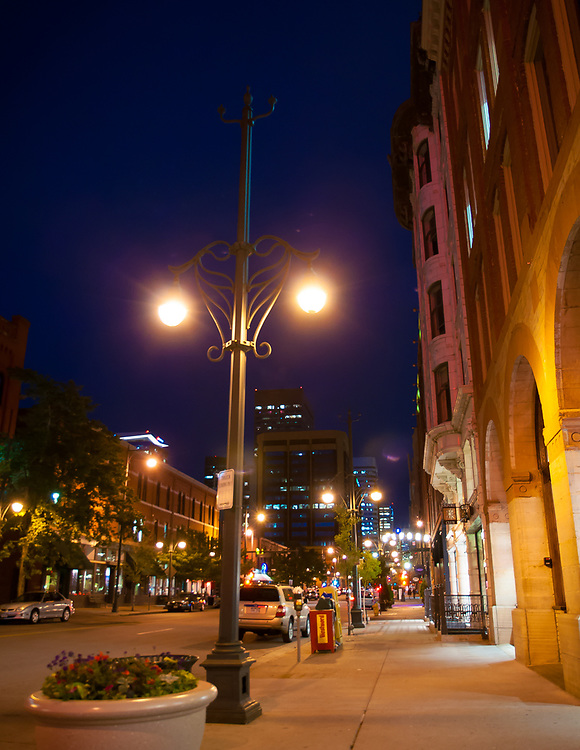 A picture of a downtown Denver street at night time.<br />