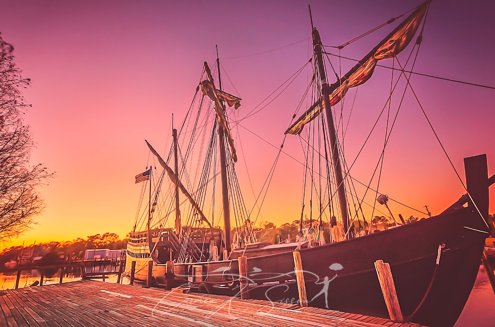 The sun sets on a replica of the Pinta, January 4, 2016, in Bayou La Batre, Alabama. The boat, along with its sister ship, the Niña, is based in the British Virgin Islands but docks in the bayou for 10 weeks every winter for routine maintenance and repairs. The Pinta was the fastest of the three ships sailed by Christopher Columbus. (Photo by Carmen K. Sisson/Cloudybright)