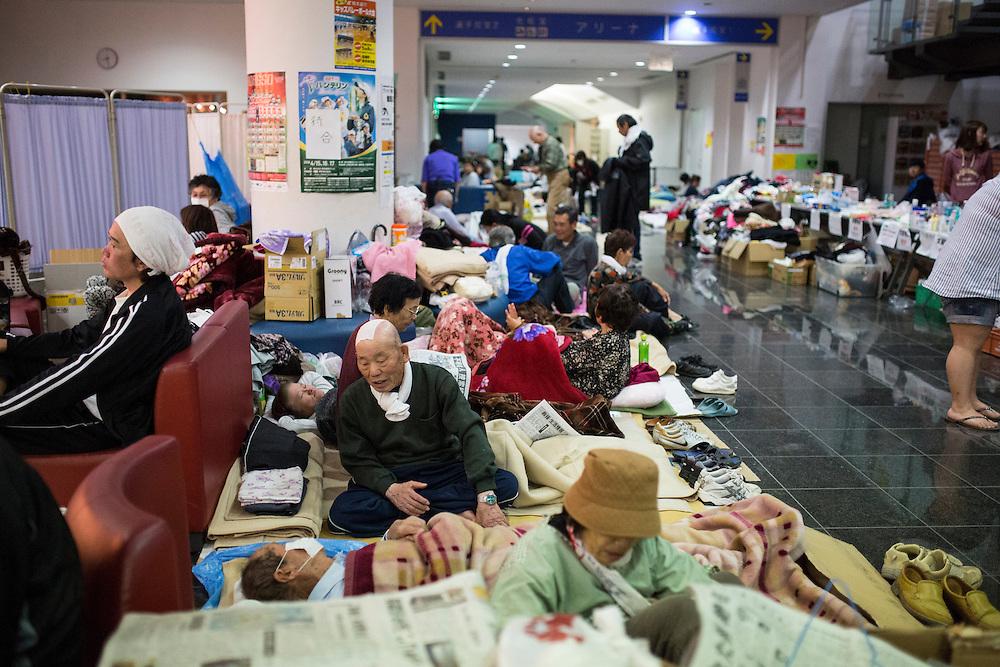 KUMAMOTO, JAPAN - APRIL 19: Residents take shelter inside the Mashiki Town Gymnasium evacuation center on April 19, 2016 in Mashiki, Kumamoto, Japan. This is their fourth day in the evacuation center since magnitude-6.3 quake hit Kumamoto city.<br /> <br /> Photo: Richard Atrero de Guzman
