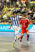 Benfica's Alan Brandi and Pescara's Adolfo Salas during UEFA Futsal Cup 2015/2016 3º/4º place match. April 22,2016. (ALTERPHOTOS/Acero)