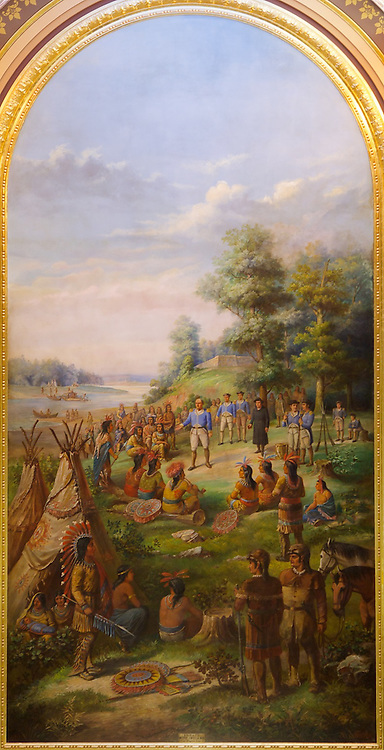 Gustav Fuchs' historically inaccurate 1886 painting of George Rogers Clark's 1778 treaty with Indians at Fort Kaskaskia. Painting measures 20 feet by 40 feet.