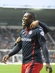 Reading Yakubu celebrates his goal, Reading second and Winner at Derby,  Derby County v Reading, FA Cup 5th Round, The Ipro Stadium, Saturday 14th Febuary 2015