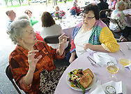 Ruth Hall (L) chats with her daughter Linda Weller of Langhorne, Pennsylvania during a Mother's Day luncheon on the grounds of Spring Village at Floral Vale for their patients and their families Saturday May 9, 2015 in Yardley, Pennsylvania. (Photo by William Thomas Cain/Cain Images)