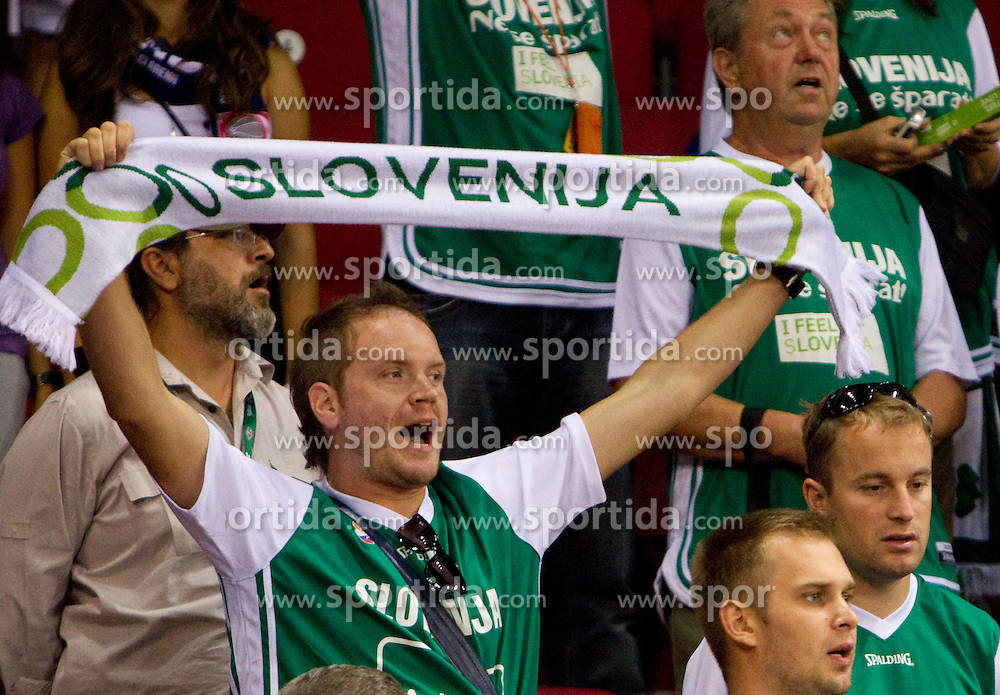 Fans of Slovenia during  the Preliminary Round - Group B basketball match between National teams of Slovenia and Iran at 2010 FIBA World Championships on September 2, 2010 at Abdi Ipekci Arena in Istanbul, Turkey. (Photo By Vid Ponikvar / Sportida.com)