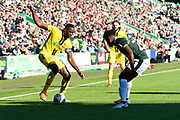 Lucas Akins (10) of Burton Albion looks for a way past Ashley Smith-Brown (23) of Plymouth Argyle during the EFL Sky Bet League 1 match between Plymouth Argyle and Burton Albion at Home Park, Plymouth, England on 20 October 2018.