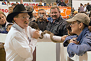 A Jaycee volunteer snake handler shows the crowd a western diamondback rattler during the 51st Annual Sweetwater Texas Rattlesnake Round-Up March 14, 2009 in Sweetwater, Texas. During the three-day event approximately 240,000 pounds of rattlesnake will be collected, milked and served to support charity.