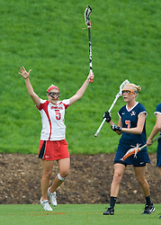 Maryland Terrapins Attack Katie Princiotto (5) celebrates after scoring against UVA.  The #3 ranked Virginia Cavaliers defeated the #2 ranked Maryland Terrapins 10-9 in overtime in the finals of the Women's 2008 Atlantic Coast Conference Lacrosse tournament at the University of Virginia's Scott Stadium in Charlottesville, VA on April 27, 2008.