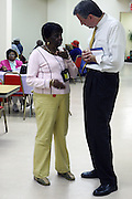 Public Advocate Candidiate Bill De Blasio at The St.Gabriels' Episcopal/Angelican Church's Senior Center campaigning for Public Advocate Bill De Blasio in the Lefferts Garden section of Brooklyn on July 22, 2009 in Brooklyn, New York