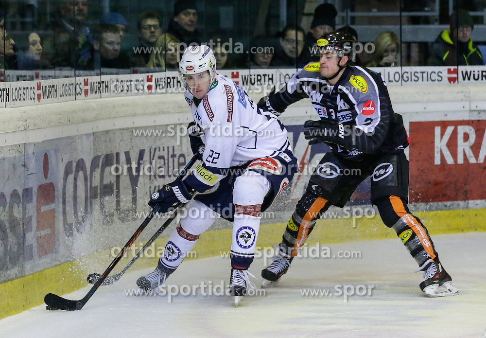 26.12.2015, Messestadion, Dornbirn, AUT, EBEL, Dornbirner Eishockey Club vs EC VSV, 35. Runde, im Bild Zweikampf zwischen Adis Alagic, (EC VSV, #22) und Andrew Mackenzie, (Dornbirner Eishockey Club, #03)// during the Erste Bank Icehockey League 35th round match between Dornbirner Eishockey Club and EC VSV at the Messestadion in Dornbirn, Austria on 2015/12/26, EXPA Pictures © 2015, PhotoCredit: EXPA/ Peter Rinderer