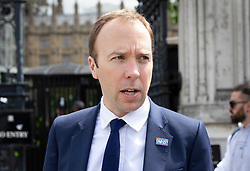 © Licensed to London News Pictures. 14/06/2019. London, UK. Health Secretary Matt Hancock leaves Parliament after announcing that he is withdrawing from the Conservative Party leadership race after polling only 20 votes. Favourite Boris Johnson received 114 votes in the ballot to replace Theresa May . Photo credit: Rob Pinney/LNP