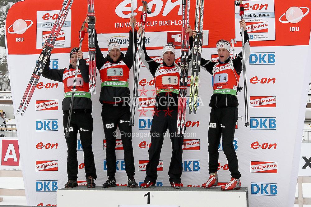 11.12.2011, Biathlonzentrum, Hochfilzen, AUT, E.ON IBU Weltcup, 2. Biathlon, Hochfilzen, Staffel Herren, im Bild Siegertieam mit Brattsveen Rune (Team NOR) Berger Lars (Team NOR) Svendsen Emil Hegle (Team NOR) Boe Tarjei (Team NOR) // during Team Relay E.ON IBU World Cup 2th Biathlon, Hochfilzen, Austria on 2011/12/11. EXPA Pictures © 2011. EXPA Pictures © 2011, PhotoCredit: EXPA/ nph/ Straubmeier..***** ATTENTION - OUT OF GER, CRO *****