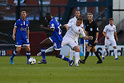 Sam Hoskins of Northampton Town attempts to take Ousmane Fané of Oldham Athletic during the EFL Sky Bet League 1 match between Oldham Athletic and Northampton Town at Boundary Park, Oldham, England on 16 August 2016. Photo by Simon Brady.
