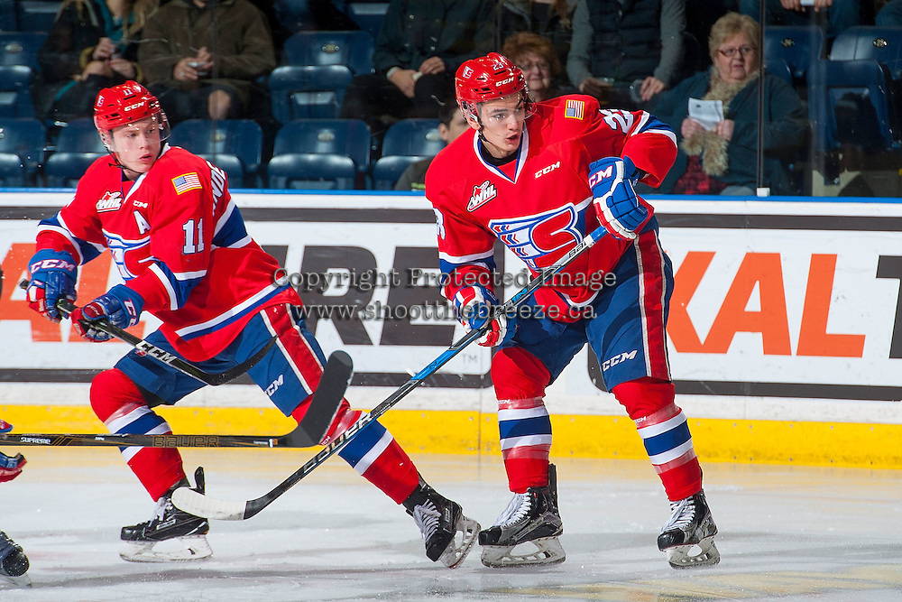 KELOWNA, CANADA - JANUARY 4: Jaret Anderson-Dolan #11 and Jake Toporowski #23 of the Spokane Chiefs skate against the Kelowna Rockets on January 4, 2017 at Prospera Place in Kelowna, British Columbia, Canada.  (Photo by Marissa Baecker/Shoot the Breeze)  *** Local Caption ***