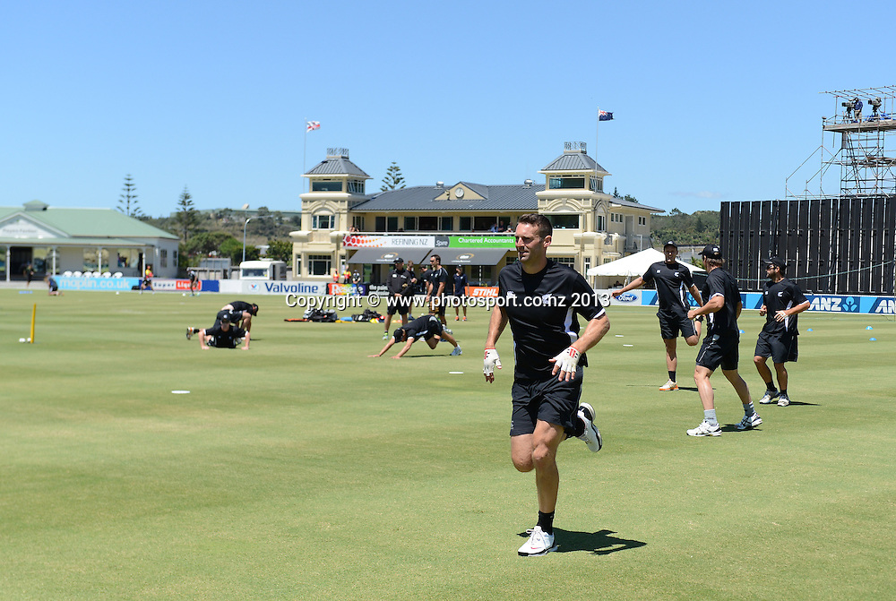 NZ XI captain Andrew Ellis warms up. Twenty20 Cricket. England v NZ XI. England Cricket tour to New Zealand. Cobham Oval. Whangarei, New Zealand on Wednesday 6 February 2013. Photo: Andrew Cornaga/Photosport.co.nz