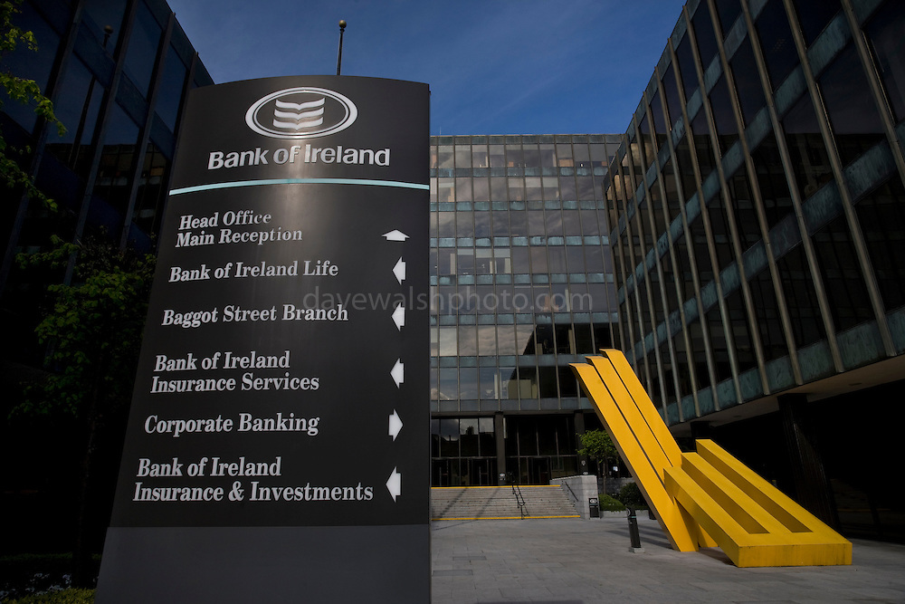 Bank of Ireland Headquarters, Baggot Street, Dublin. The bank received a 3.5 billion euro Irish government bailout following the 2008 financial crisis. Sculpture by artist Michael Bulfin