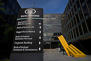 Bank of Ireland Headquarters, Baggot Street, Dublin. The bank received a 3.5 billion euro Irish government bailout following the 2008 financial crisis. Sculpture by artist Michael Bulfin