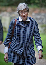 © Licensed to London News Pictures. 08/10/2017. Maidenhead, UK. Prime Minister Theresa May attends church in her constituency. Mrs May has faced heavy criticism after her disastrous conference speech, with some MPs in the Conservative party calling for her to stand down.  Photo credit: Peter Macdiarmid/LNP