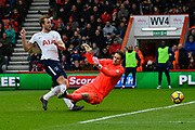 Harry Kane (10) of Tottenham Hotspur beats Asmir Begovic (27) of AFC Bournemouth but his goal is ruled offside during the Premier League match between Bournemouth and Tottenham Hotspur at the Vitality Stadium, Bournemouth, England on 11 March 2018. Picture by Graham Hunt.