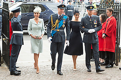 © Licensed to London News Pictures. 10/07/2018. London, UK. The Duchess of Cambridge, Duke of Cambridge, The Duke and Sussex and Meghan, Duchess of Sussex attends a service at Westminster Abbey to make the100th anniversary of the Royal Air Force at Westminster Abbey. The RAF, the world's first independent air force was founded on 1 April 1918, independent of the British Army and Royal Navy. Photo credit: Ray Tang/LNP