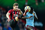 Simon Francis (2) of AFC Bournemouth battles for possession with Mbwana Samatta (20) of Aston Villa during the Premier League match between Bournemouth and Aston Villa at the Vitality Stadium, Bournemouth, England on 1 February 2020.