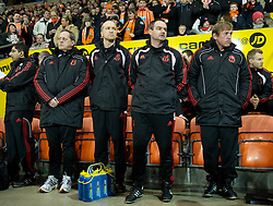 BLACKPOOL, ENGLAND - Wednesday, January 12, 2011: Liverpool's manager Kenny Dalglish with assistant manager Steve Clarke, head of fitness and conditioning Darren Burgess, head of sports medicine and sports science Doctor Peter Brukner before the Premiership match against Blackpool at Bloomfield Road. (Photo by David Rawcliffe/Propaganda)