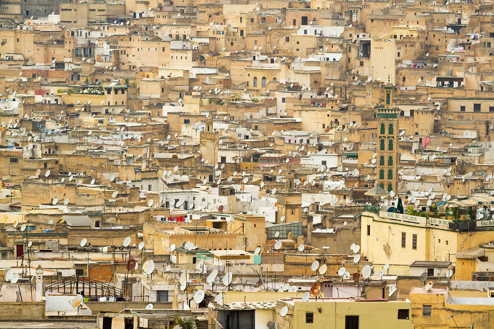FEZ, MOROCCO - 24th OCTOBER 2013 - Cityscape / urbanscape view over the old Fes Medina from a viewpoint outside the city, Middle Atlas Mountains, Morocco.