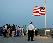 Highland, New York - People stand at the center of the Walkway over the Hudson after a Memorial Day ceremony there on May 27, 2012.