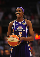 June 4, 2010; Phoenix, AZ, USA; Los Angeles Sparks forward DeLisha Milton-Jones shoots a free throw against the Phoenix Mercury during the first half at US Airways Center.  The Mercury defeated the Sparks 90-89.  Mandatory Credit: Jennifer Stewart-US PRESSWIRE