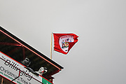 The Barnsley FC flag blows in the wind above Oakwell Stadium before the EFL Sky Bet Championship match between Barnsley and Queens Park Rangers at Oakwell, Barnsley, England on 14 December 2019.