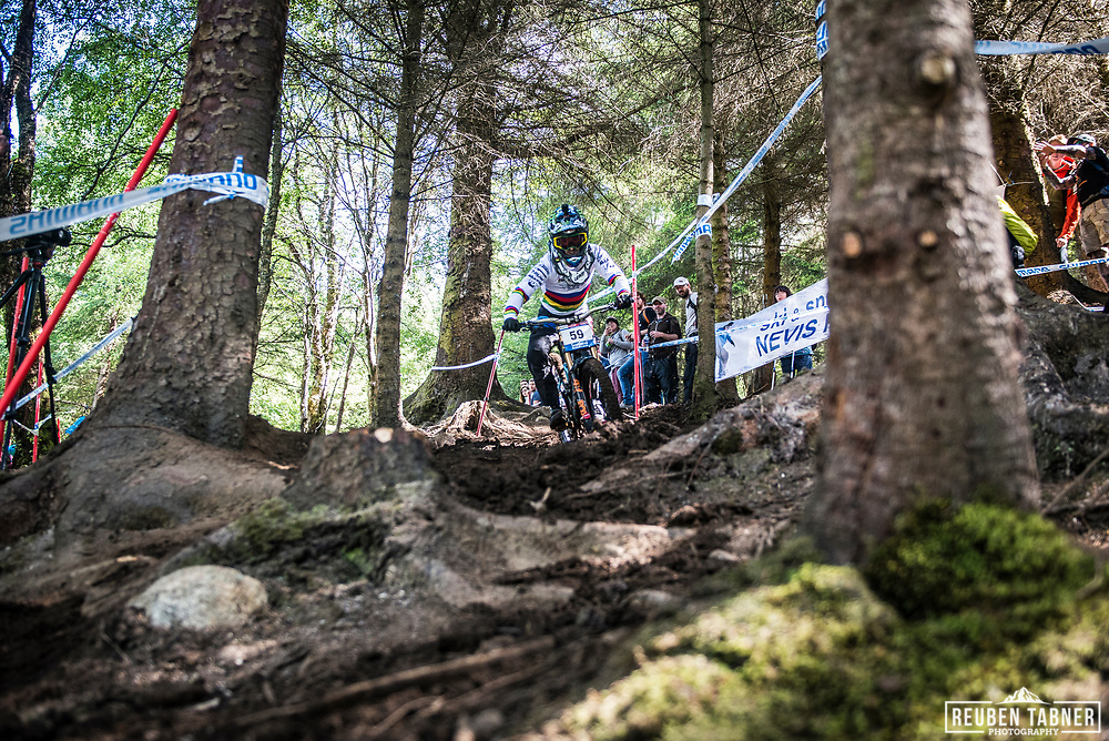 Current World Champion Danny Hart has no bother getting loose through the woods during his qualifying run of the UCI Mountain Bike World Cup at Fort William.