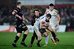 Ian Whitten of Exeter Chiefs is challenged by Billy Twelvetrees of Gloucester Rugby - Mandatory by-line: Ryan Hiscott/JMP - 14/02/2020 - RUGBY - Kingsholm - Gloucester, England - Gloucester Rugby v Exeter Chiefs - Gallagher Premiership