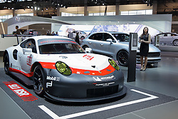 09 February 2017: Porsche Timepieces 911 RSR racecar<br /> <br /> First staged in 1901, the Chicago Auto Show is the largest auto show in North America and has been held more times than any other auto exposition on the continent.  It has been  presented by the Chicago Automobile Trade Association (CATA) since 1935.  It is held at McCormick Place, Chicago Illinois<br /> #CAS17