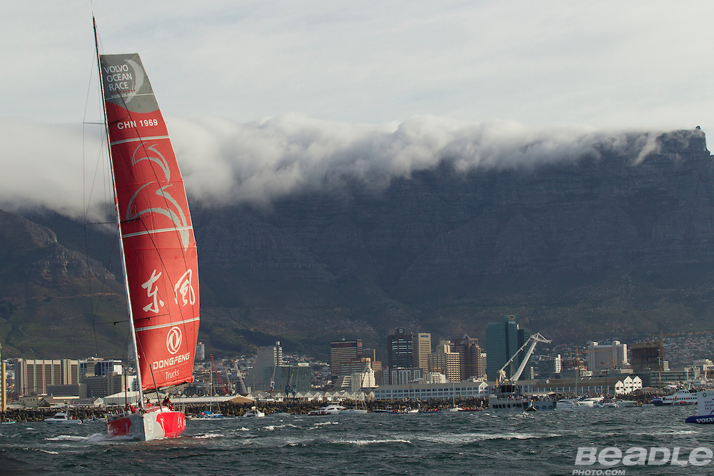 Image taken during the departure of the sailing fleet from Cape Town. This is the start of leg 2 of the 2014-2015 Volvo Ocean Race. Image by Greg Beadle